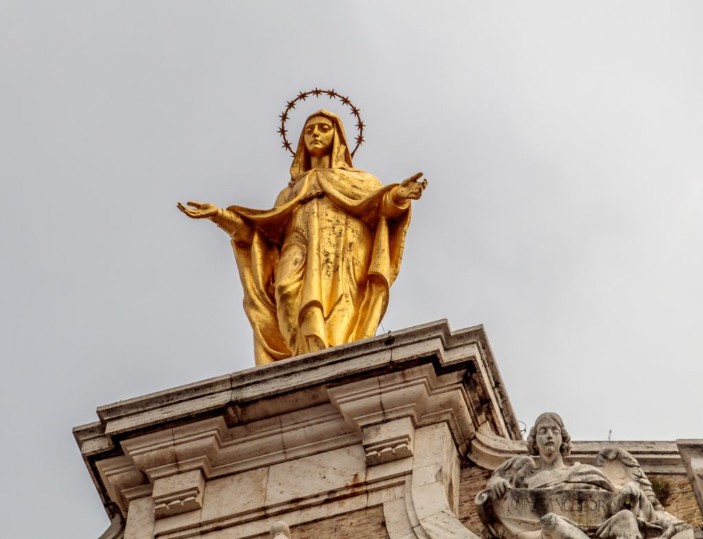 Statue of St. Mary on top of Santa Maria degli Angeli