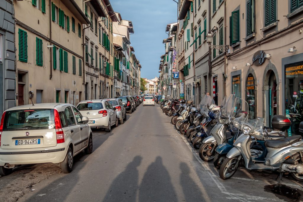 Narrow Streets with Parking for Motor Bikes