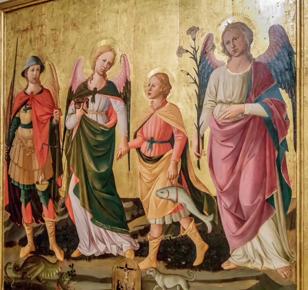 Young Tobias with the archangels Michael, Raphael and Gabriel