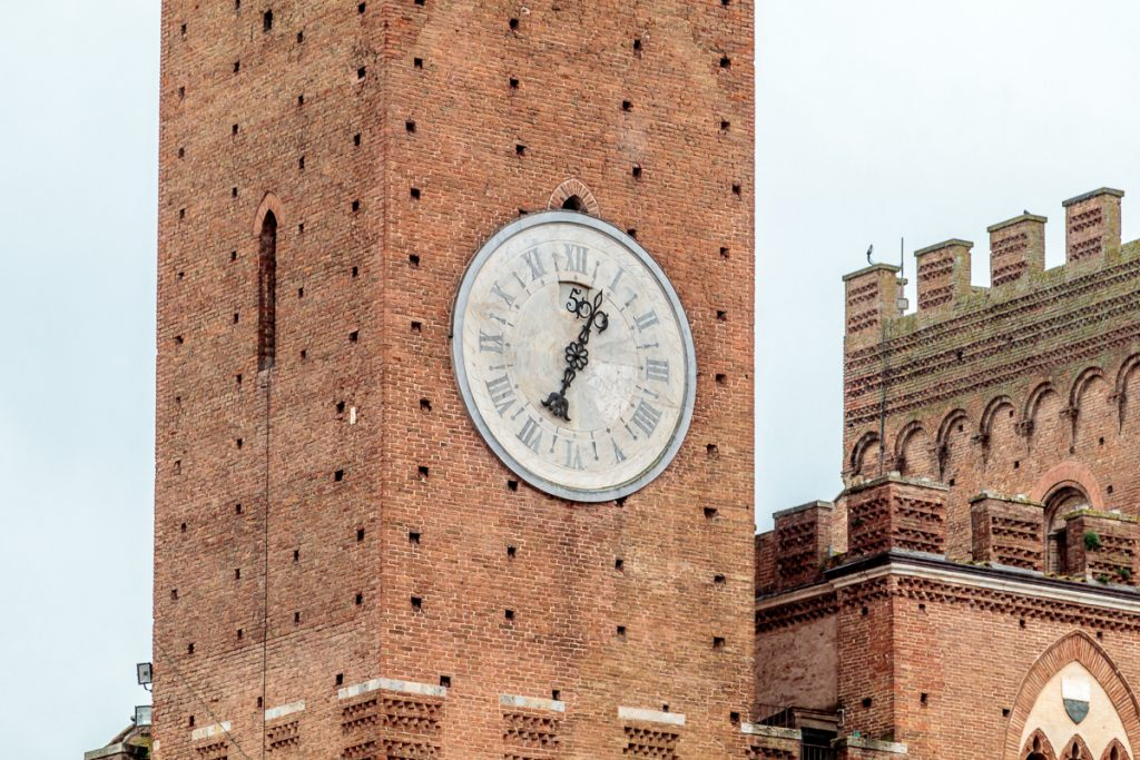 Clock in Bell Tower of Palazzo Pubblico