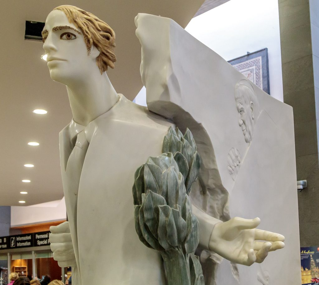 Modern Sculpture in Museum Entry