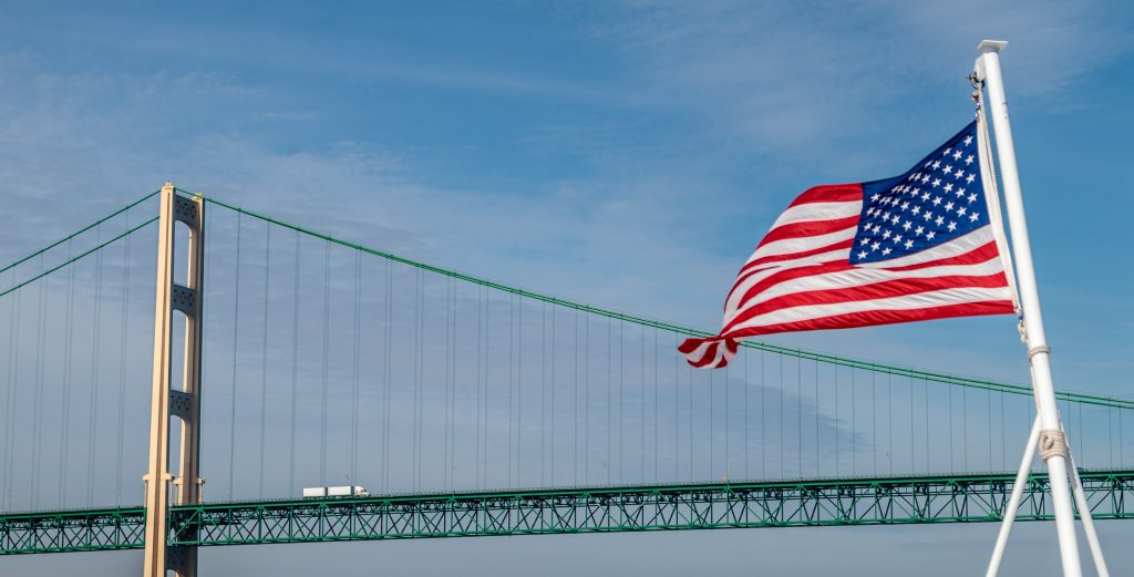 Bridge and Flag from Ferry