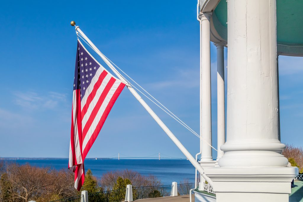 Flag on Porch of Grand Hotel